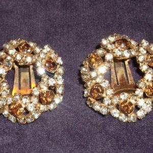 Vintage Clip On Earrings  Topaz & Clear Rhinestone